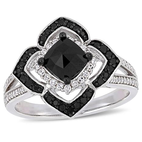Sterling Silver 1.41ctw Black and White Diamond Floral Ring