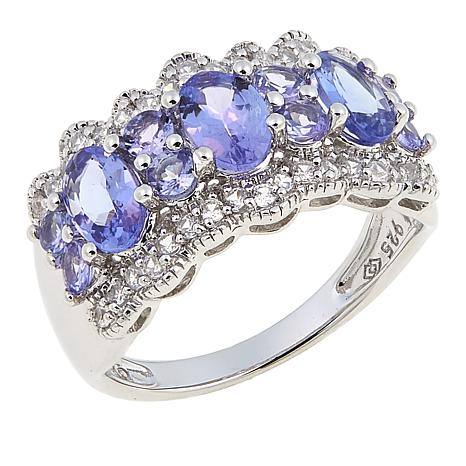 Sterling Silver 2.16ctw Zircon and Tanzanite Ring