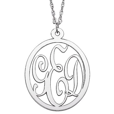 Sterling silver 3 initial monogram pendant with chain 7094142 hsn sterling silver 3 initial monogram pendant chain aloadofball Gallery