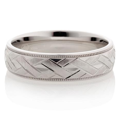 Sterling Silver Basket-Weave 6mm Wedding Band