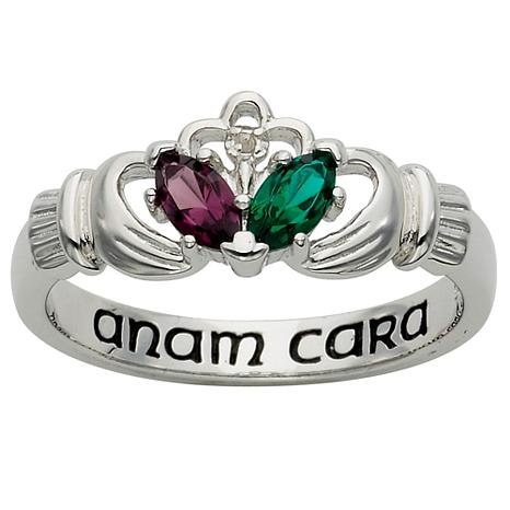 Sterling Silver Couples Birthstone and Genuine Diamond Claddagh Ring