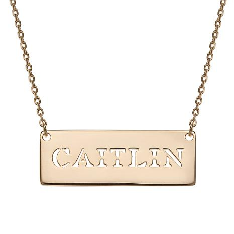 "Sterling Silver Cut-Out Name Bar 16"" Necklace"