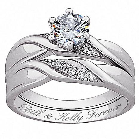 Amazing Sterling Silver 2 Piece CZ And Diamond Accent Wedding Ring Set