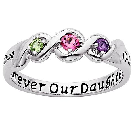 Sterling Silver Daughter Name and Date Birthstone Ring