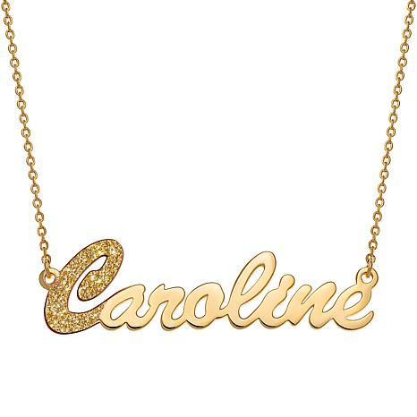 Sterling Silver Dual Finish Script Name Necklace