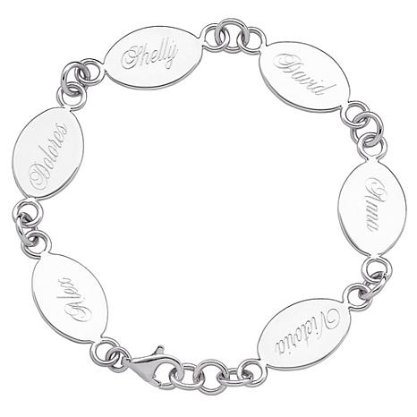 sterling silver engraved oval family name bracelet with. Black Bedroom Furniture Sets. Home Design Ideas