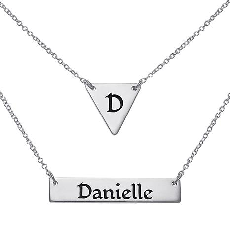 Sterling Silver Engraved Triangle and Name Bar Layered Necklace