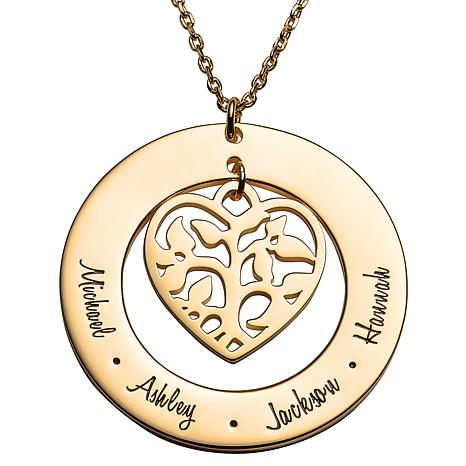 Sterling Silver Family Name and Heart Family Tree Necklace
