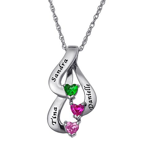 Sterling Silver Family Or Sisters Name And Heart Birthstone Pendant