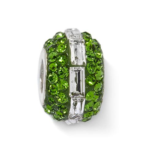 Sterling Silver Green and Clear Crystal Slide Charm