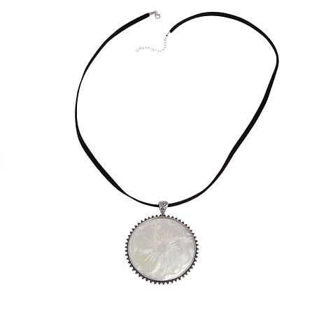 """Sterling Silver Mother-of-Pearl Floral Design Pendant with 28"""" Cord"""