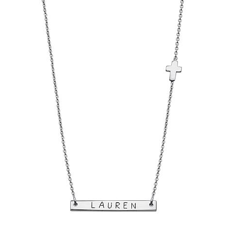 "Sterling Silver Nameplate 17"" Cross Necklace"