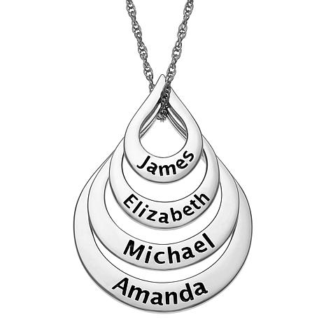 Sterling Silver Nesting Teardrop Names Necklace - 4 Names