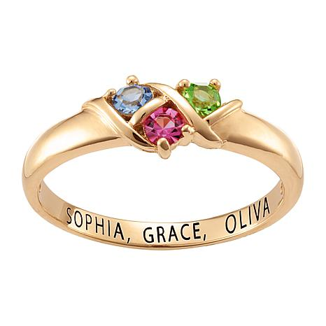 Sterling Silver Round Birthstone Crystal Band Ring - 3 Stones