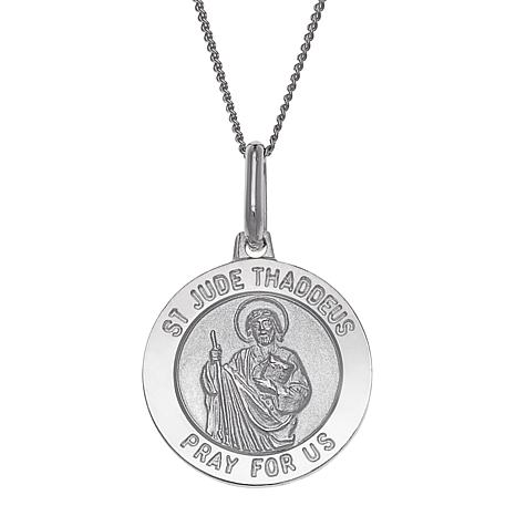 Sterling Silver St. Jude Personalized Round Pendant with Chain