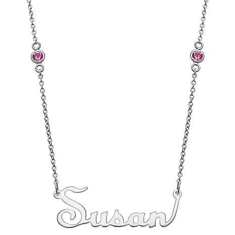 Sterling Silver Upright Name/Birthstone Chain Necklace