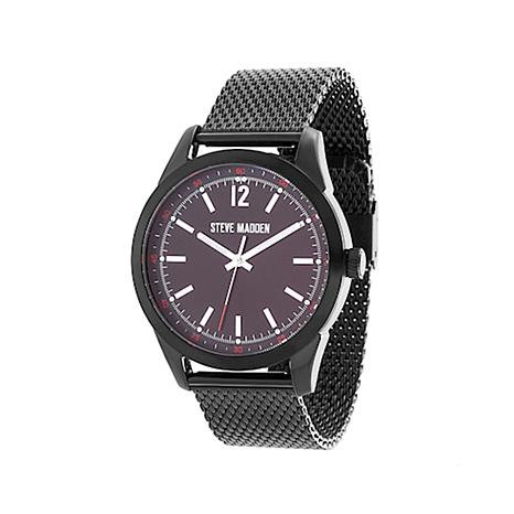 Steve Madden Men's Gunmetaltone Black Dial Mesh Watch