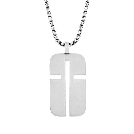 "Steve Madden Men's Stainless Steel Abstract Cross Dog Tag 28"" Necklace"