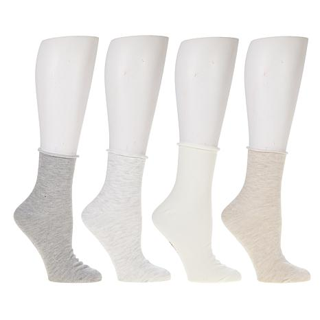Steven by Steve Madden Roll Top Anklet Socks 4-pack