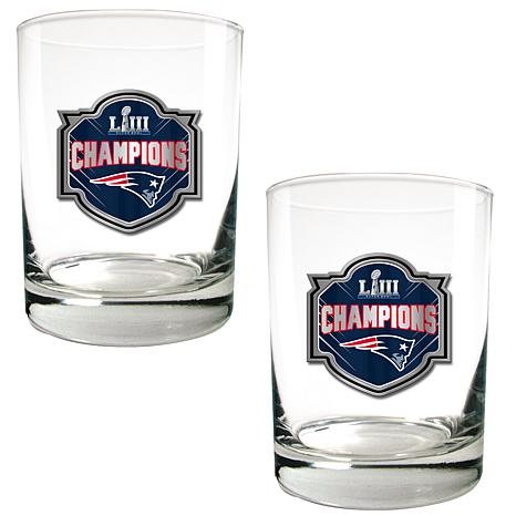 Super Bowl LIII Champs Officially Licensed 2pc Rock Glass Set-Patriots