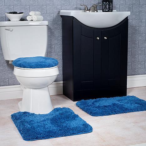 plush 3 non slip bath mat rug set navy hsn