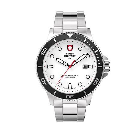swiss military by charmex men 39 s diving stainless steel bracelet watch 8578949 hsn. Black Bedroom Furniture Sets. Home Design Ideas