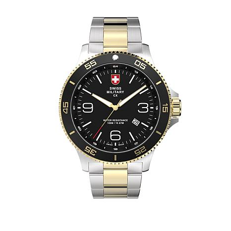 swiss military by charmex men 39 s infantry 2 tone stainless steel bracelet watc 8578897 hsn. Black Bedroom Furniture Sets. Home Design Ideas