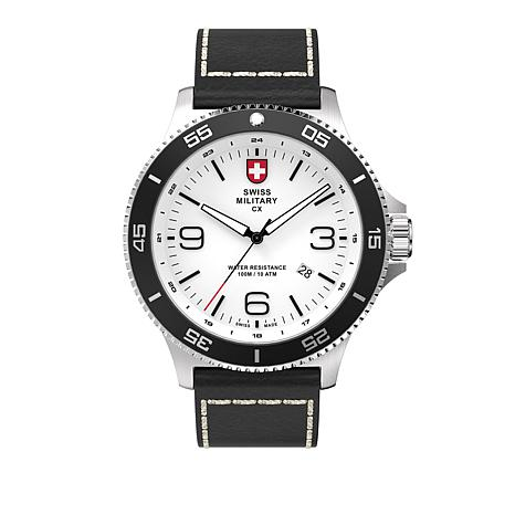 swiss military by charmex men 39 s infantry black leather strap watch 8578795 hsn. Black Bedroom Furniture Sets. Home Design Ideas