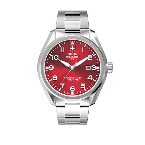 swiss military by charmex men 39 s pilot red dial bracelet watch 8578900 hsn. Black Bedroom Furniture Sets. Home Design Ideas