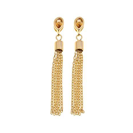 Technibond® 0.4ctw Citrine Tassel Drop Earrings