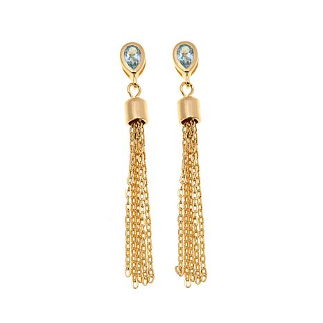 Technibond® 0.5ctw Blue Topaz Tassel Drop Earrings