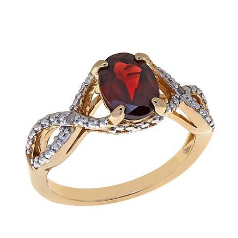 Technibond® 1.51ctw Garnet and Diamond-Accent Ring