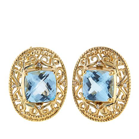 Technibond® 5.07ctw Blue Topaz and Gem Filigree Earrings