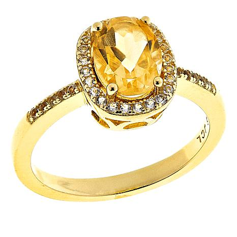 Technibond® Citrine and White Topaz Halo Ring
