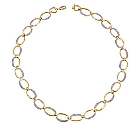 Technibond® Diamond-Accented Oval Link Necklace