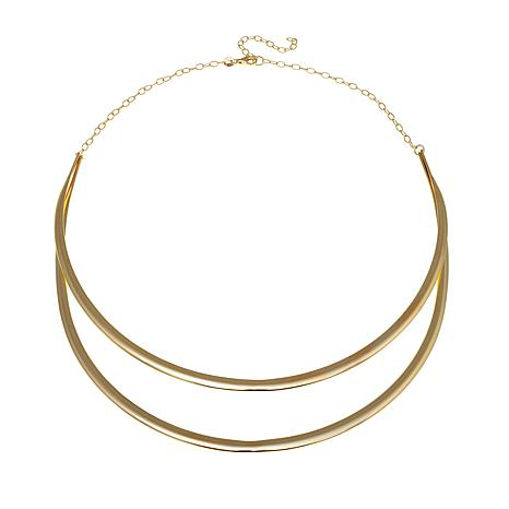 "Technibond® Double Row Curved Bar 18"" Necklace"