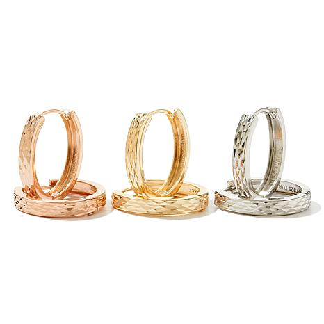 Technibond® Set of 3 Diamond-Cut Hoop Earrings