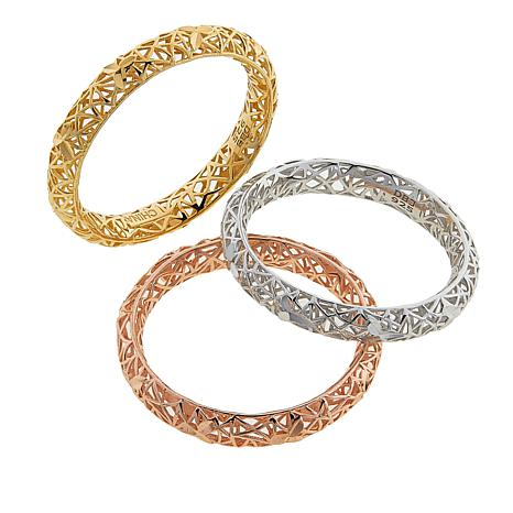 Technibond® Set of 3 Tricolor Webbed Band Rings