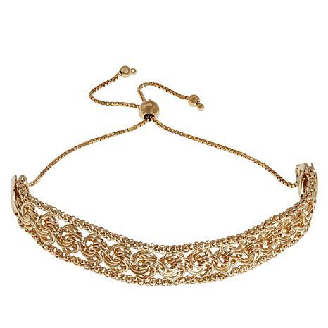 Technibond® Yellow Rosetta and Popcorn Chain Adjustable Bracelet