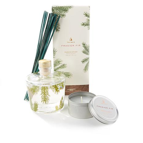 Thymes Frasier Fir Diffuser Vase Set and Travel Candle