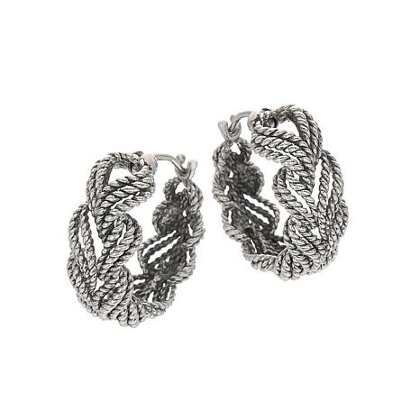 Tiffany Kay Studio Sterling Silver Eyelet Stitch Hoop Earrings