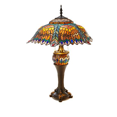 Tiffany-Style Vibrant Peacock Double Lit Table Lamp