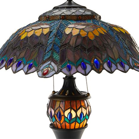 Tiffany Style Vibrant Peacock Double Lit Table Lamp 8778409 Hsn