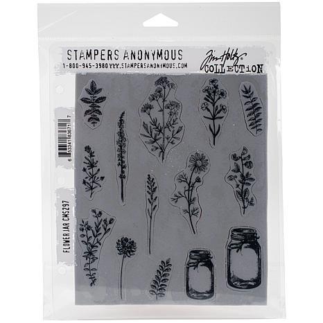 "Tim Holtz Cling Stamps 7"" x 8.5"" - Flower Jar"