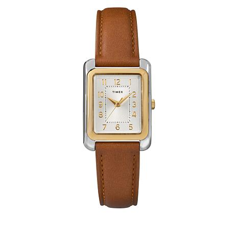 Timex Women's 2-tone Rectangle Case Brown Leather Strap Watch