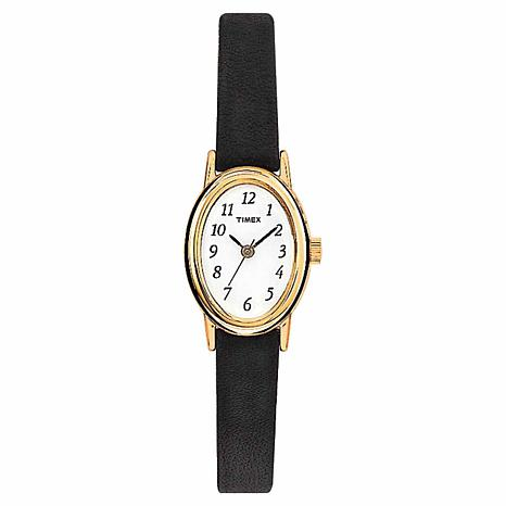 Timex Women's Classic Cavatina Goldtone Oval Black Leather Strap Watch