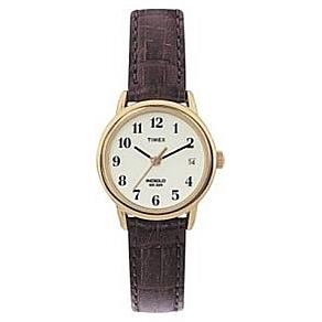 Timex Women's Goldtone EZ-Reader Brown Strap Watch