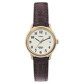 Timex Women's Goldtone EZ-Reader Brown Strap Watch