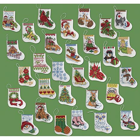 Tiny Stockings Ornaments Counted Cross Stitch Kit