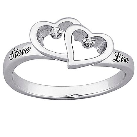 Platinum Plated Sterling Top Engraved Genuine Diamond Hearts Name Promise Ring